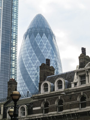 30 St Mary Axe building. The Gherkin.Swiss Re Building. London England