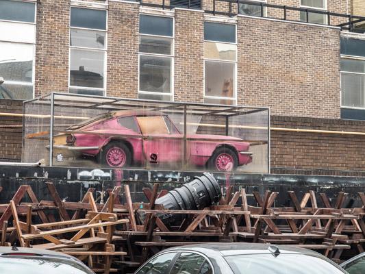 Banksy Street Art Piece. East London. Car Display