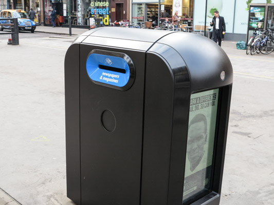 Bomb Proof Garbage can outside Liverpool Station London England