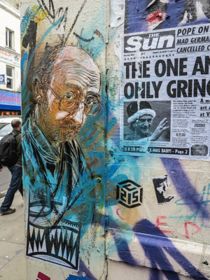 Old Man and The Sun paper. Street Art London England.