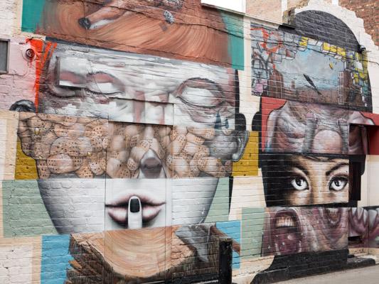 Silence Multi Face Street Art. London East End