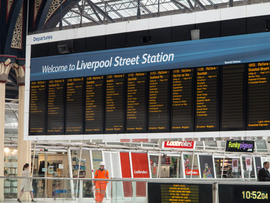 Liverpool Street Station Departure Board. London England