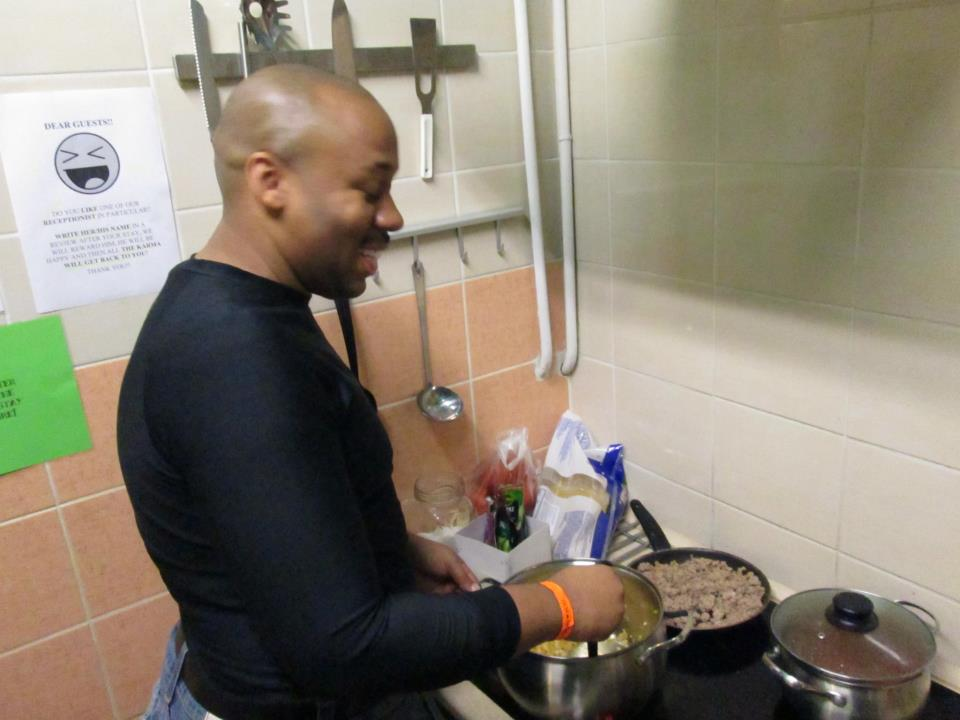 Me cooking for Oki Doki Hostel Spaghetti Night