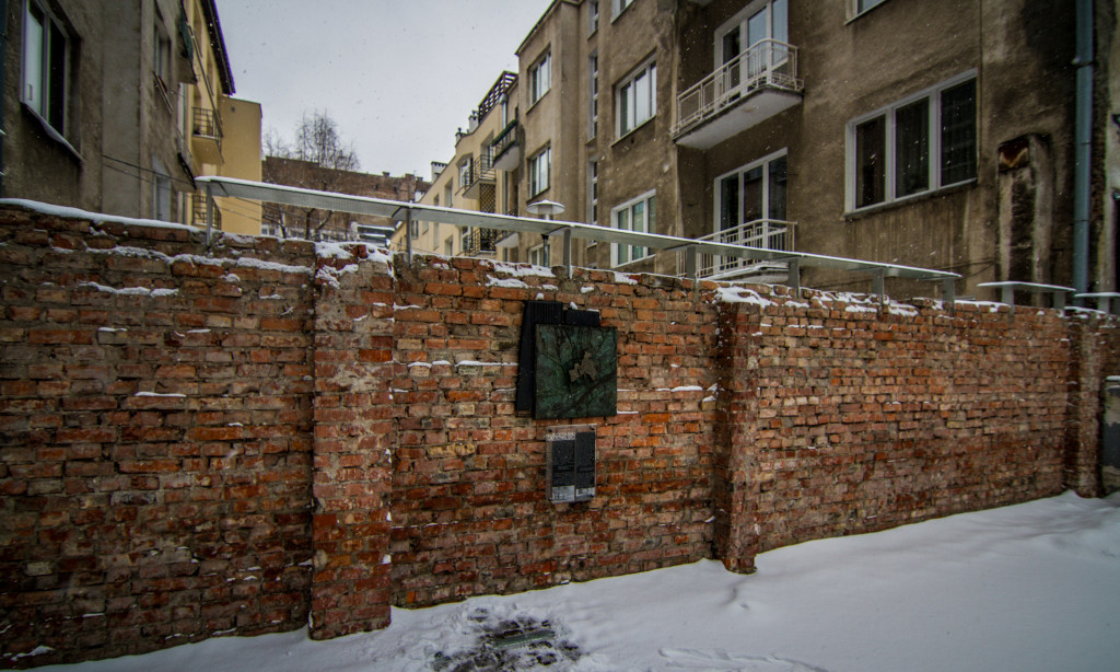 Fragment of the Jewish Ghetto Wall in Warsaw Poland.