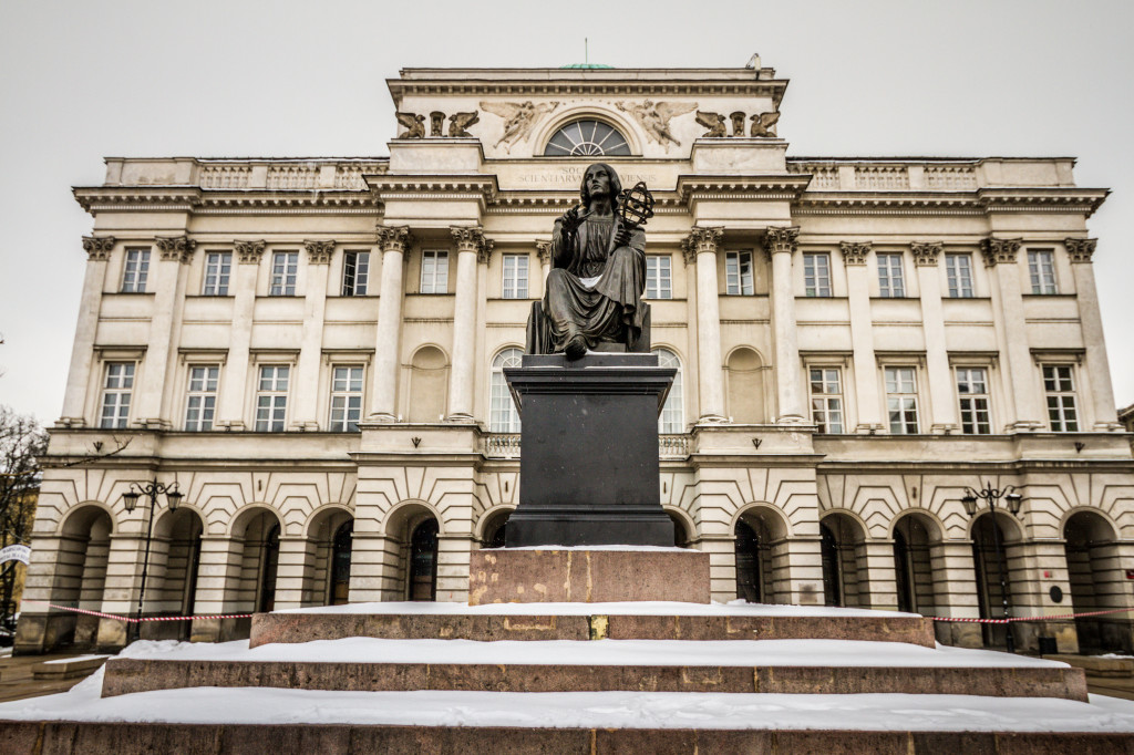 Nicolaus Copernicus Monument in Warsaw in front of Staszic Palace, the seat of the Polish Academy of Sciences on Krakowskie Przedmieście
