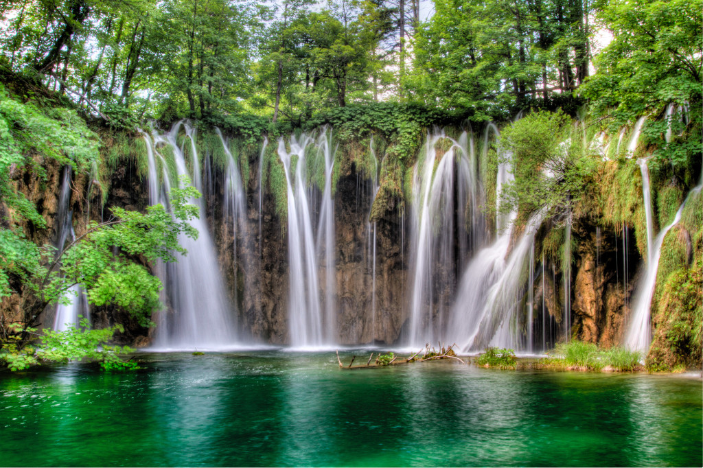 Clear lakes and falls In Plitvice Lakes National Parks Croatia