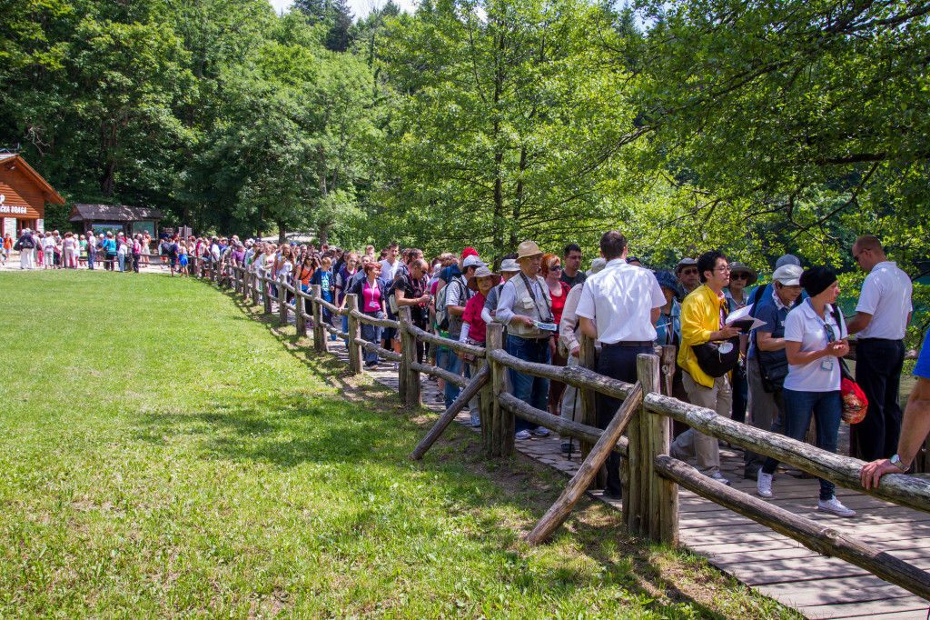 Crowds waiting for ferry at Plitvice Lakes National Park Croatia
