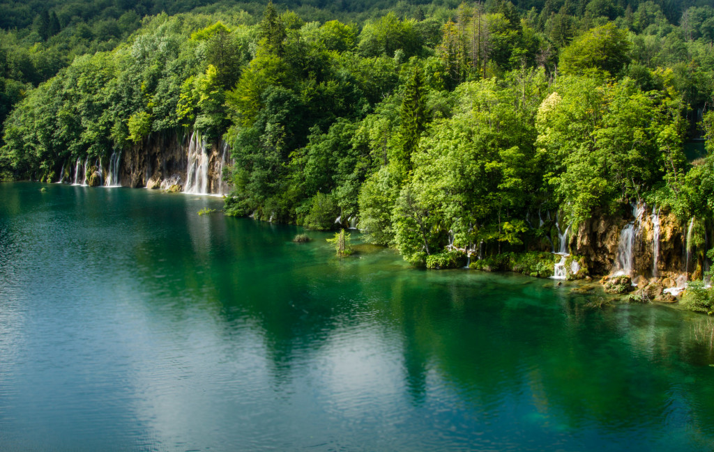 Lake and Waterfalls at Plitvice Lakes National Park Croatia