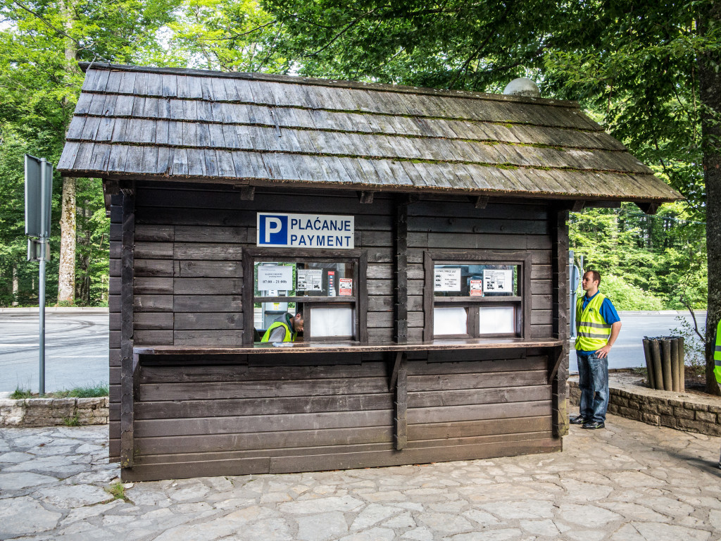 Parking and Luggage storage kiosk at Plitvice or Plitvicka Lakes National Park