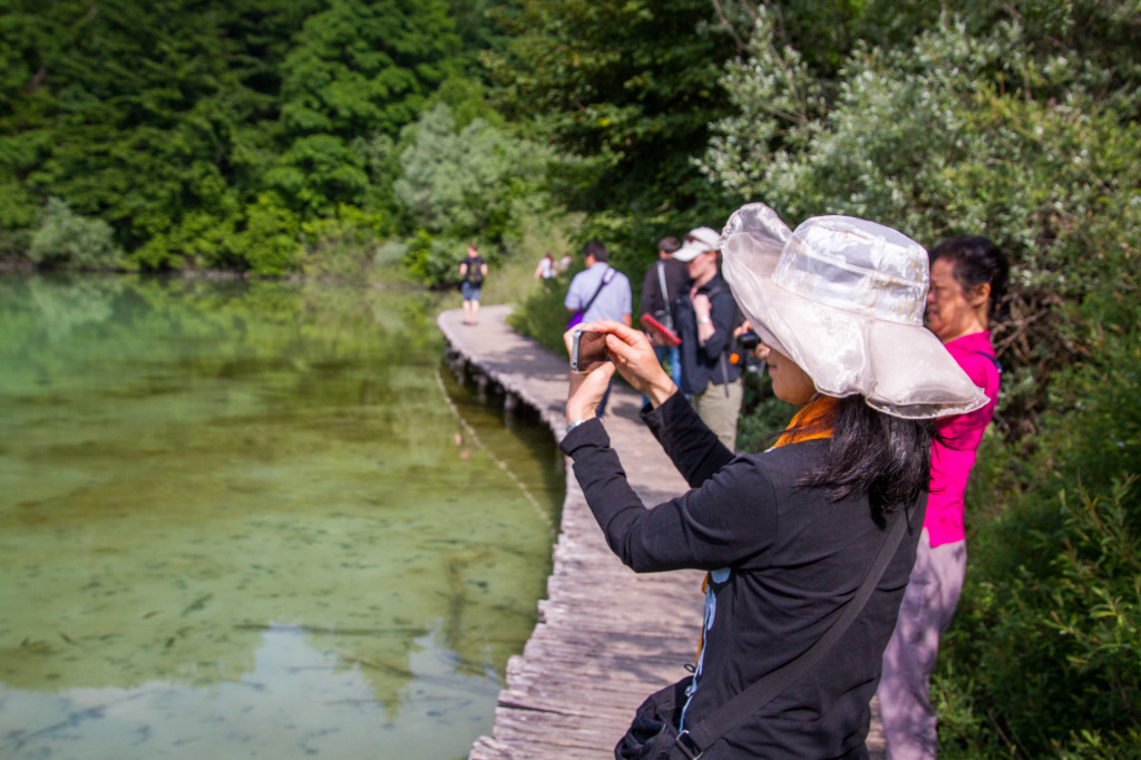 Tour groups at Plitvice Lakes National Park Croatia