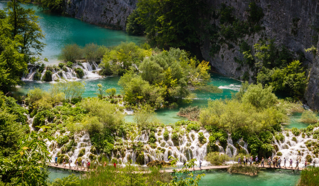 Travertine Cliffs and Lakes at Plitvice Lakes National Park Croatia