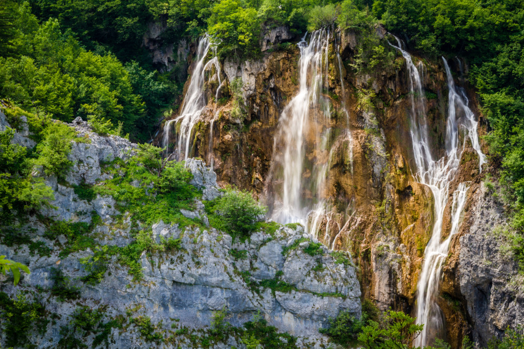 Waterfall in side of mountain at Plitvice Lakes National Park Croatia