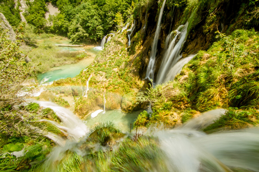 Waterfalls and streams running in Plitvice Lakes National Park Croatia