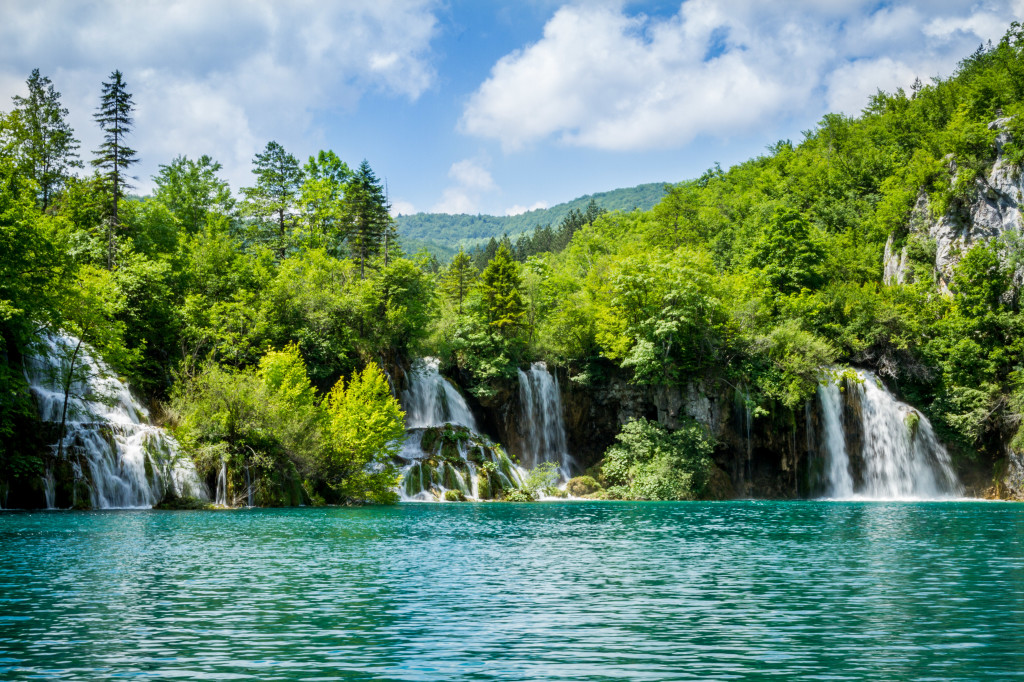 Waterfalls feeding lake at Plitvice Lakes National Park Croatia