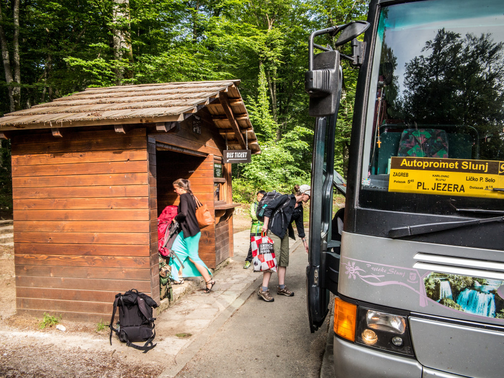 Zagreb bus at Plitvice National Park Bust Stop