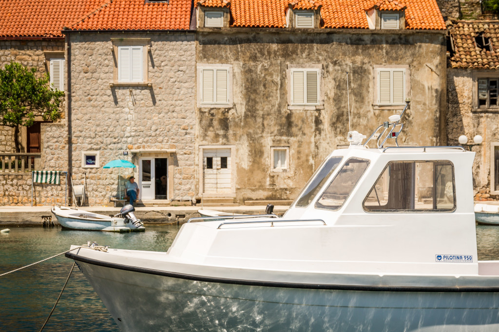 Boat in Dock of Sipan Island Croatia