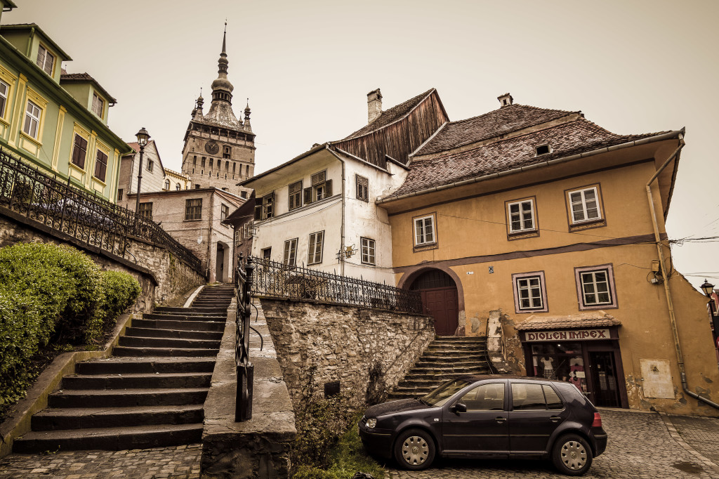 Clock Tower from city park in Sighisoara, Romania