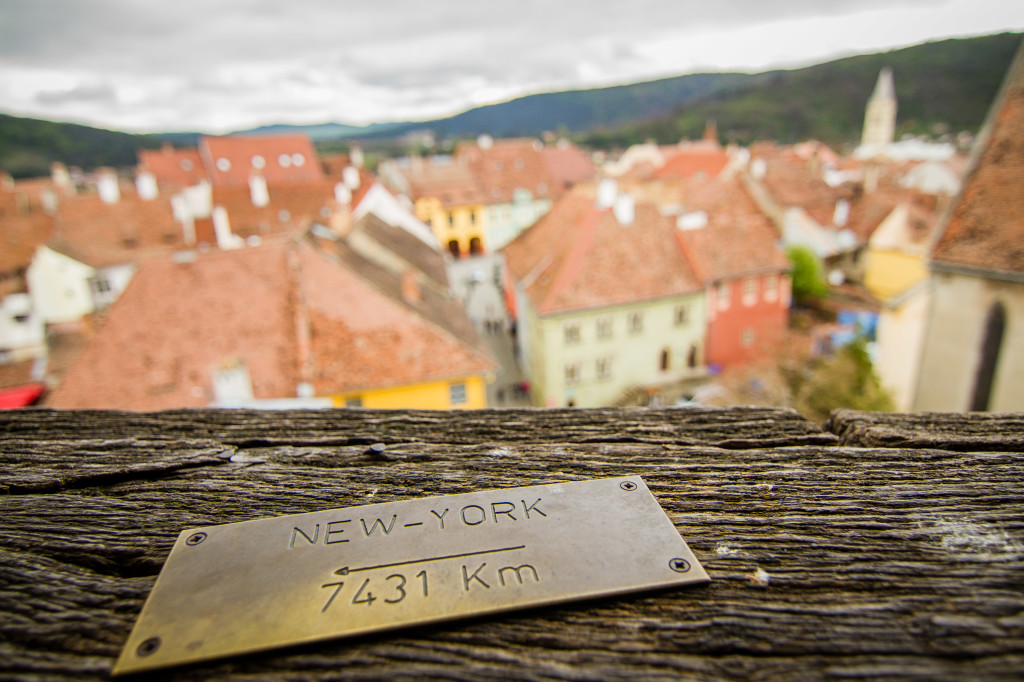 New York Plaque on the Clock Tower in Sighisoara, Romania