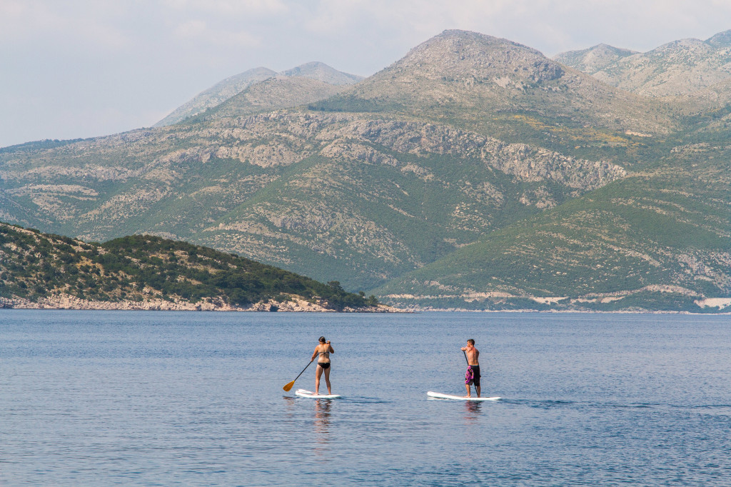 Paddle Borders off the coast of Lopud Island Croatia