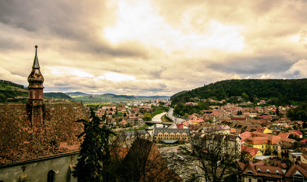 Sighisoara Overlook During and Approaching storm from Clock Tower