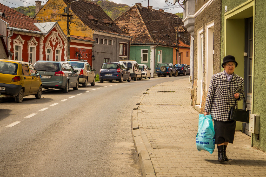 Woman Walking in Sighisoara