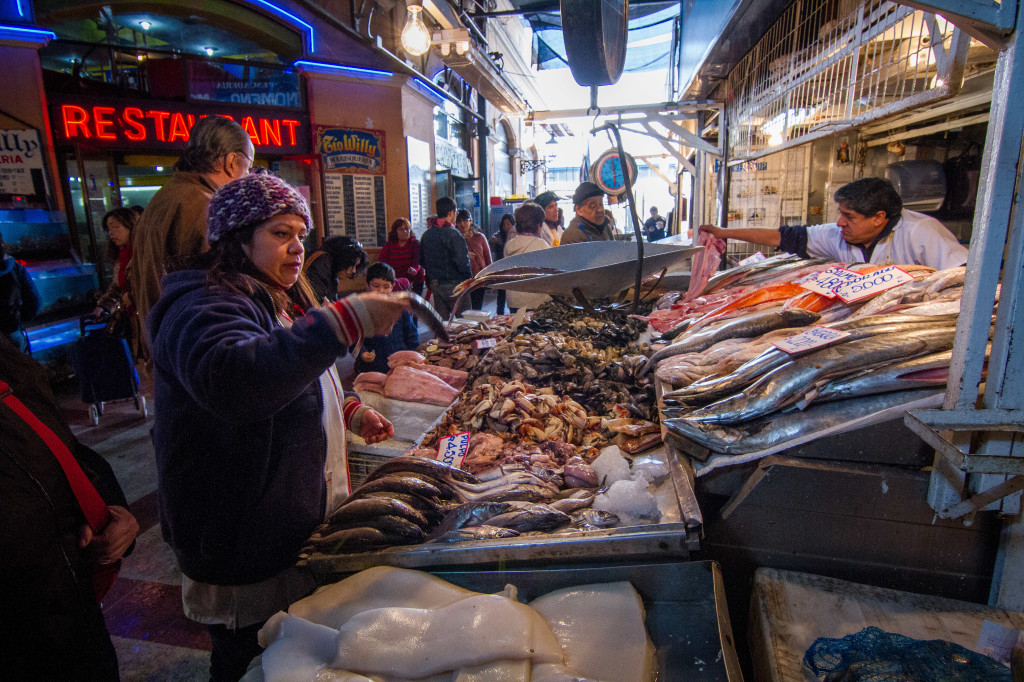 Central Seafood Market in Santiago Chile
