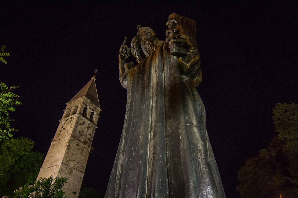 Sculpture of Gregorious of Nin at night in Split Croatia