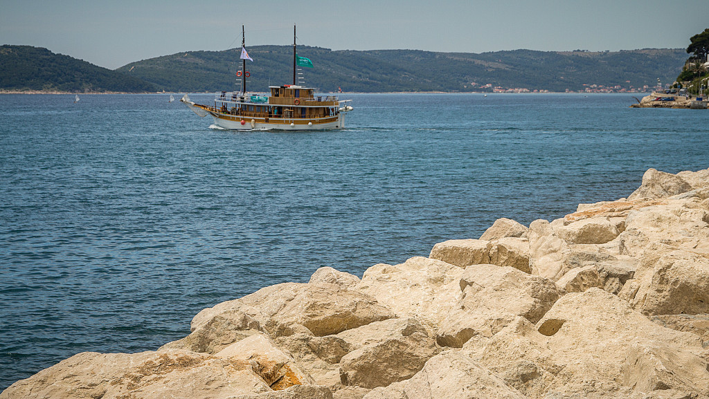 Ship off the coast of Split Croatia