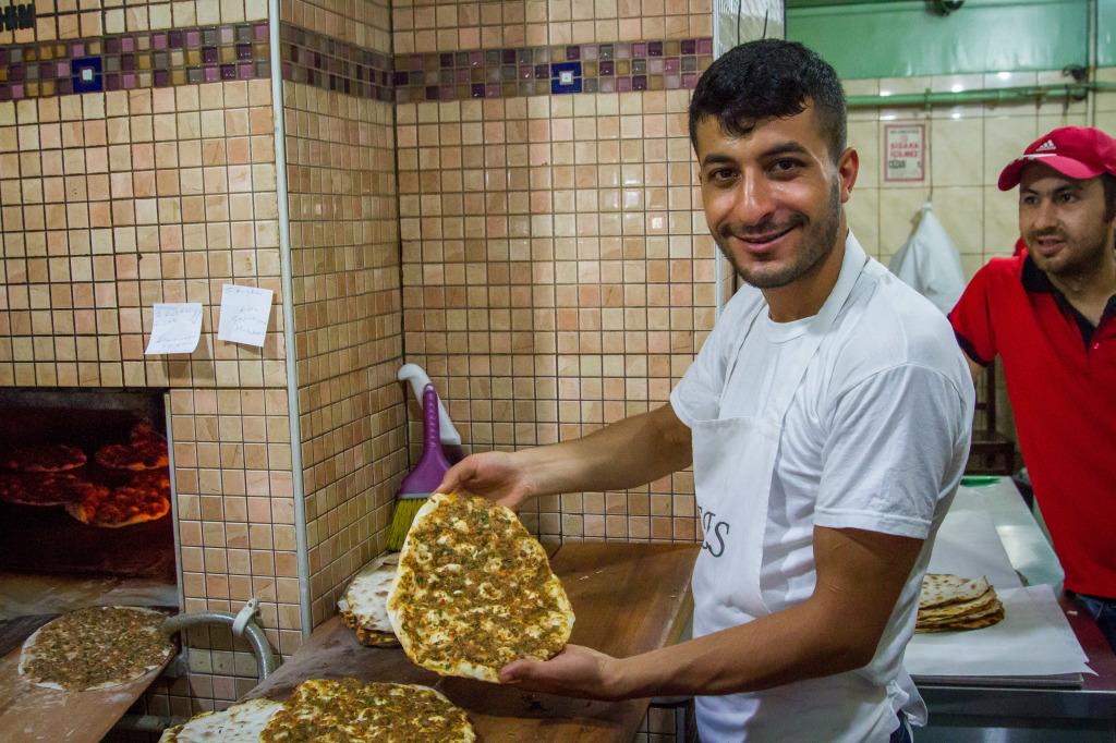 Lahmacun vendor in Istanbul Turkey
