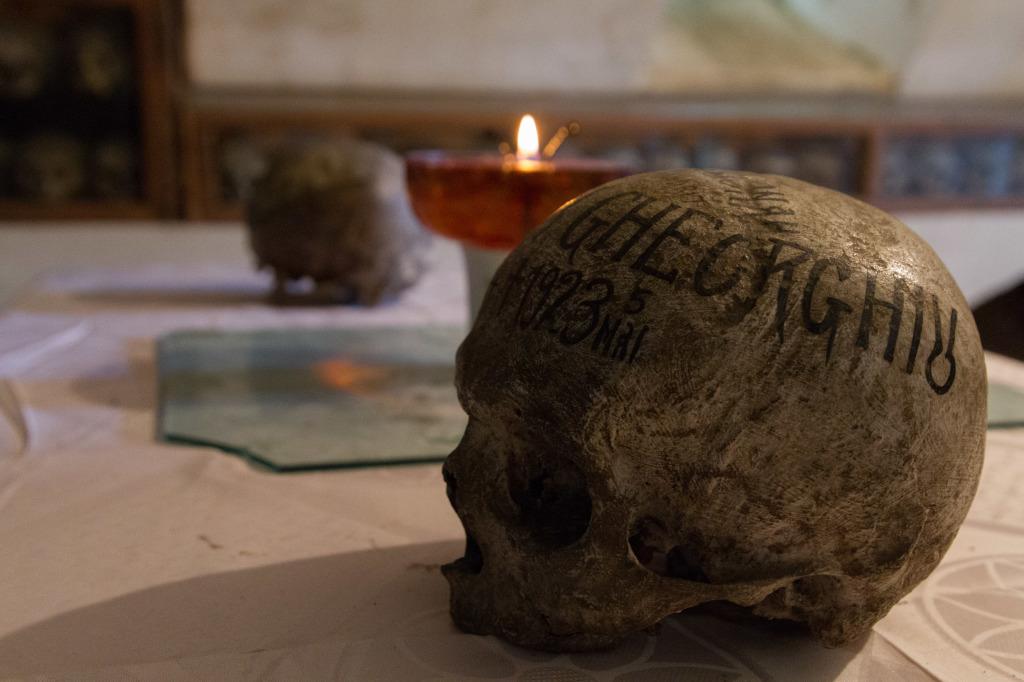 Skull in Neamt Monastery