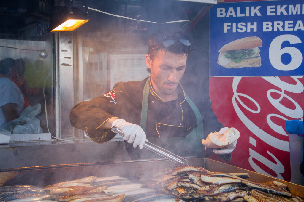 Balik ekmek vendor in Istanbul Turkey