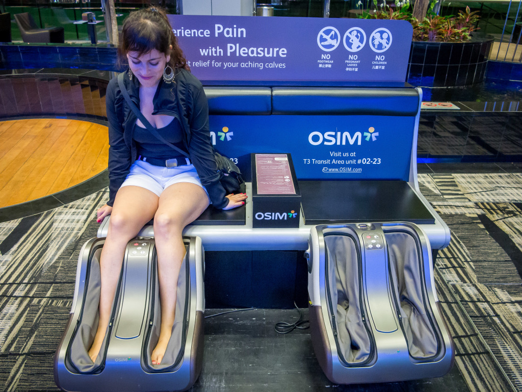 Free massage chairs at Changi Airport Singapore