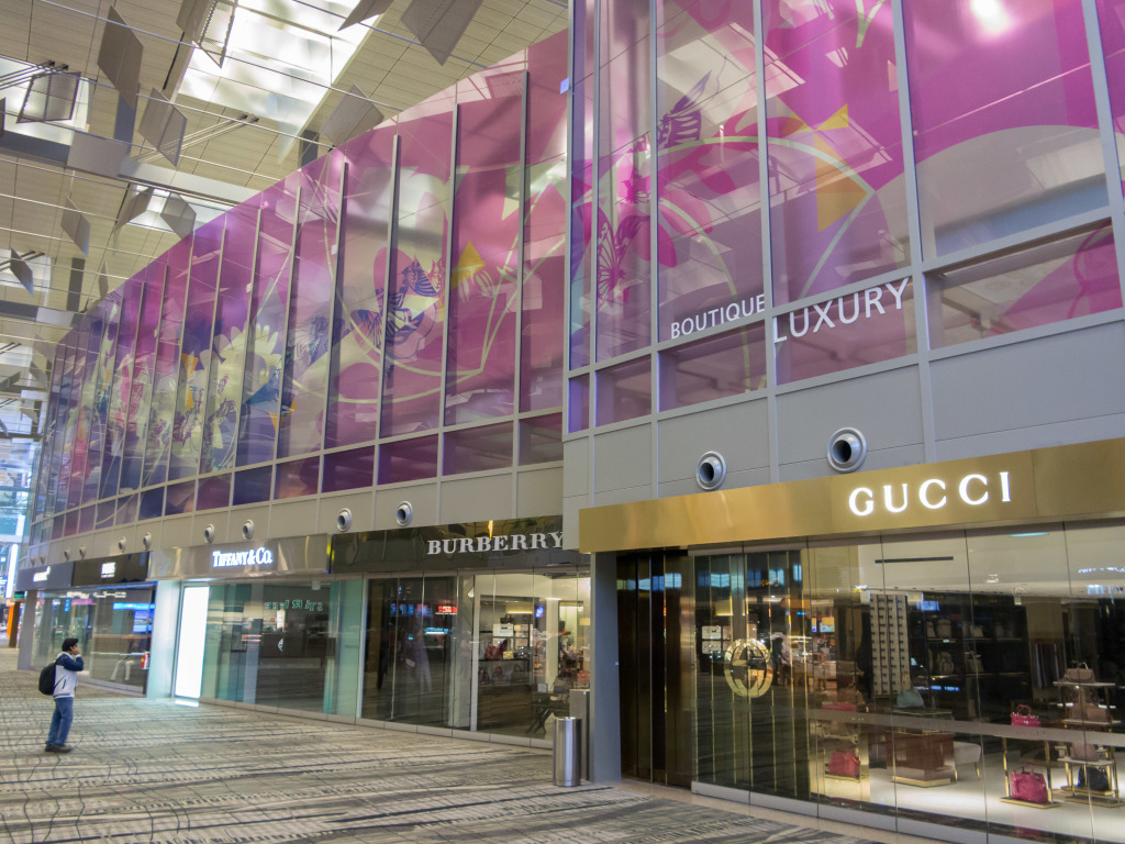 Luxury stores Gucci and Tiffany's at Changi Airport Singapore