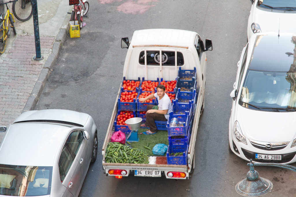Man selling vegetables from truck in Istanbul