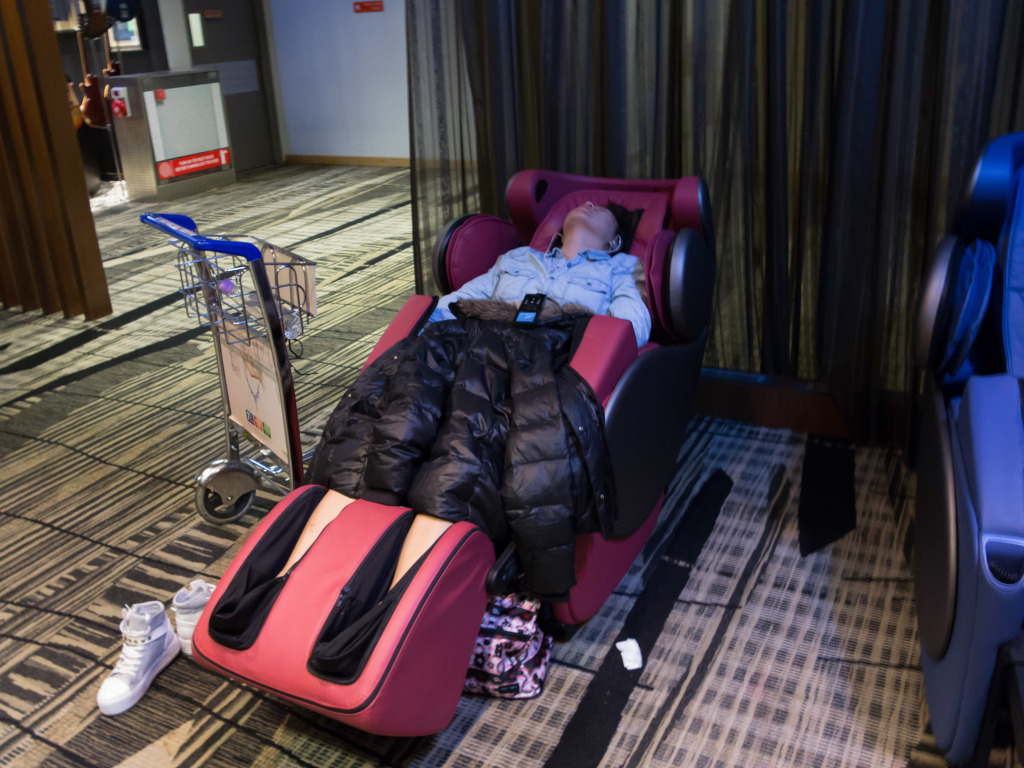 Sleeeping massage chair at Changi Airport Singapore
