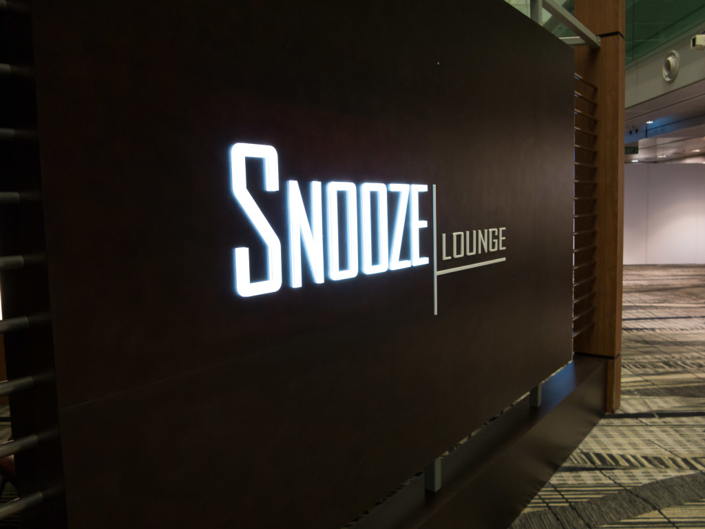 Snooze Lounge sign at Changi Airport Singapore