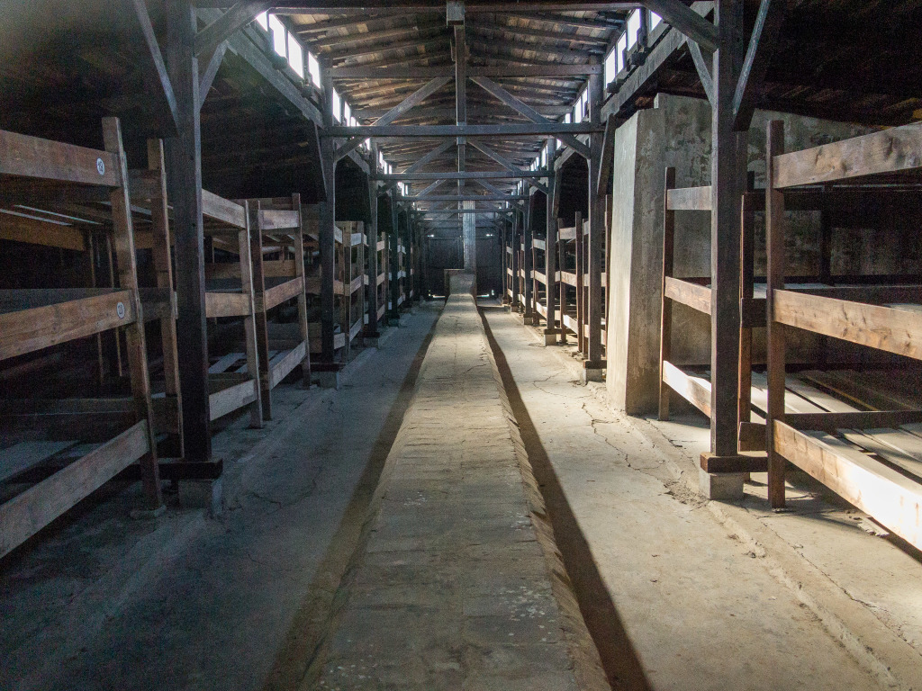 Auschwitz-Birkenau living barracks for prisoners. Concentration Camp Holocaust