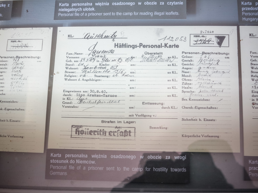Auschwitz prisoner booking card