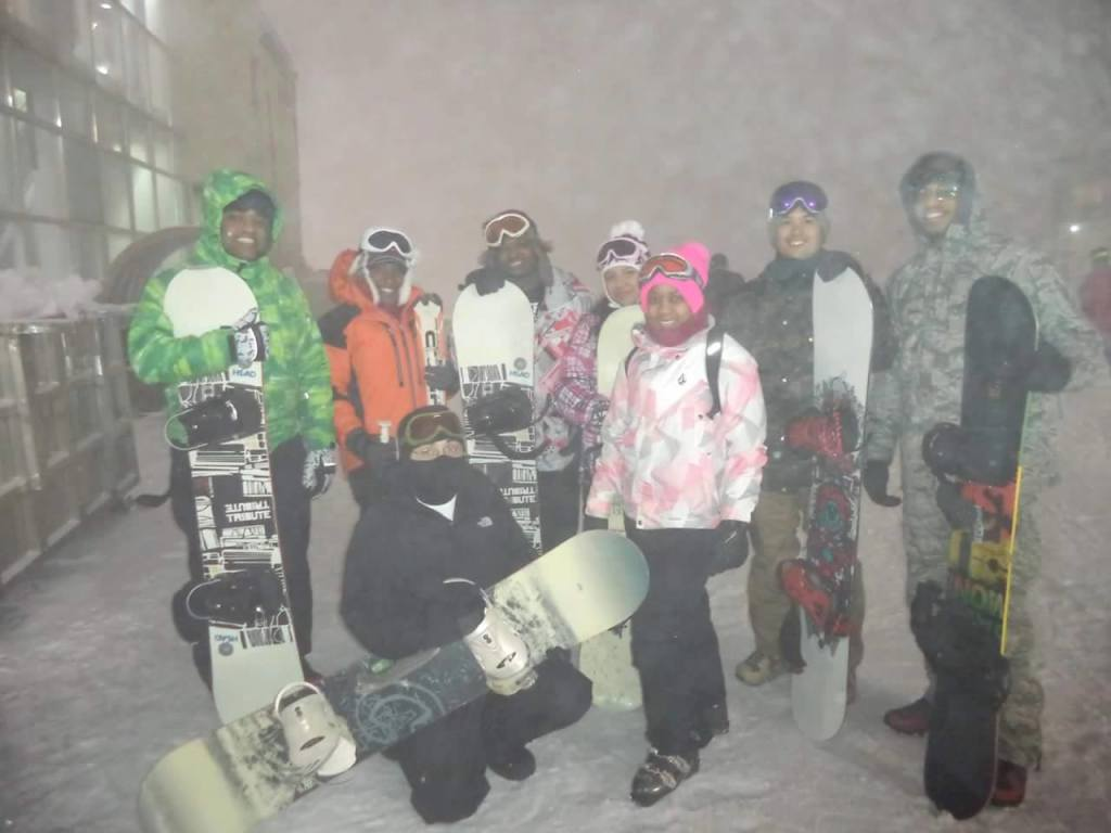 African-American Brothers and Sisters skiing in South Korea