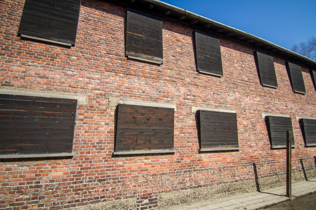 Barracks lining Wall of Death Auschwitz