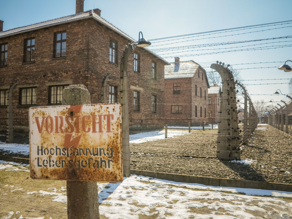 Vorsicht Sign and Fence at Auschwitz