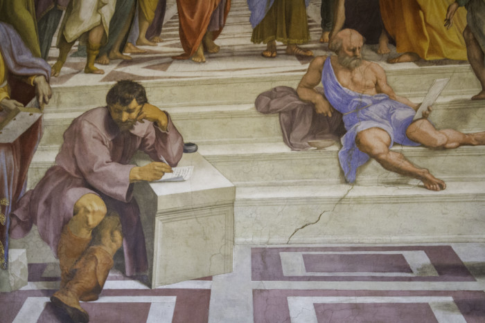 Michaelangelo in The School of Athens by Raphael in Vatican Museum