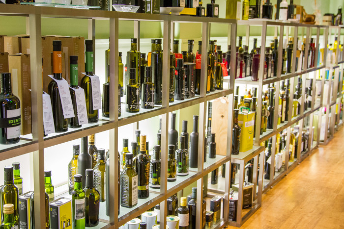 Selection of premium Extra Virgin Olive Oils at Oli Sal in Barcelona Spain
