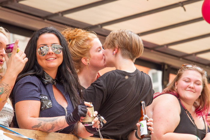 Lesbian Couple kiss at Copenhagen Pride