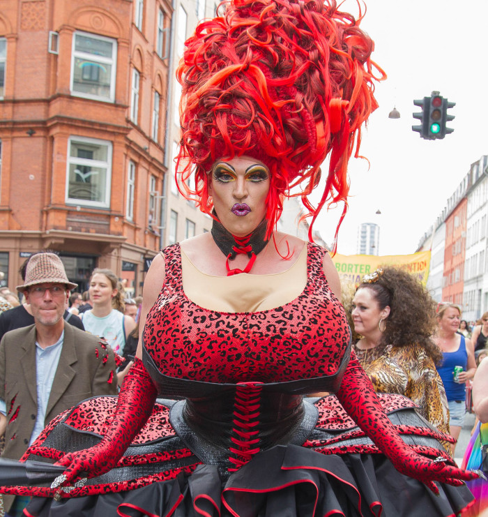 Red Drag Queen at Copenhagen Pride