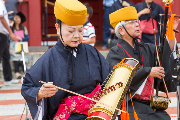 Chinese Yokin Player in Okinawa Japan Shuri Castle Festival