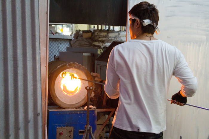 Okinawan Glass maker with Kilm