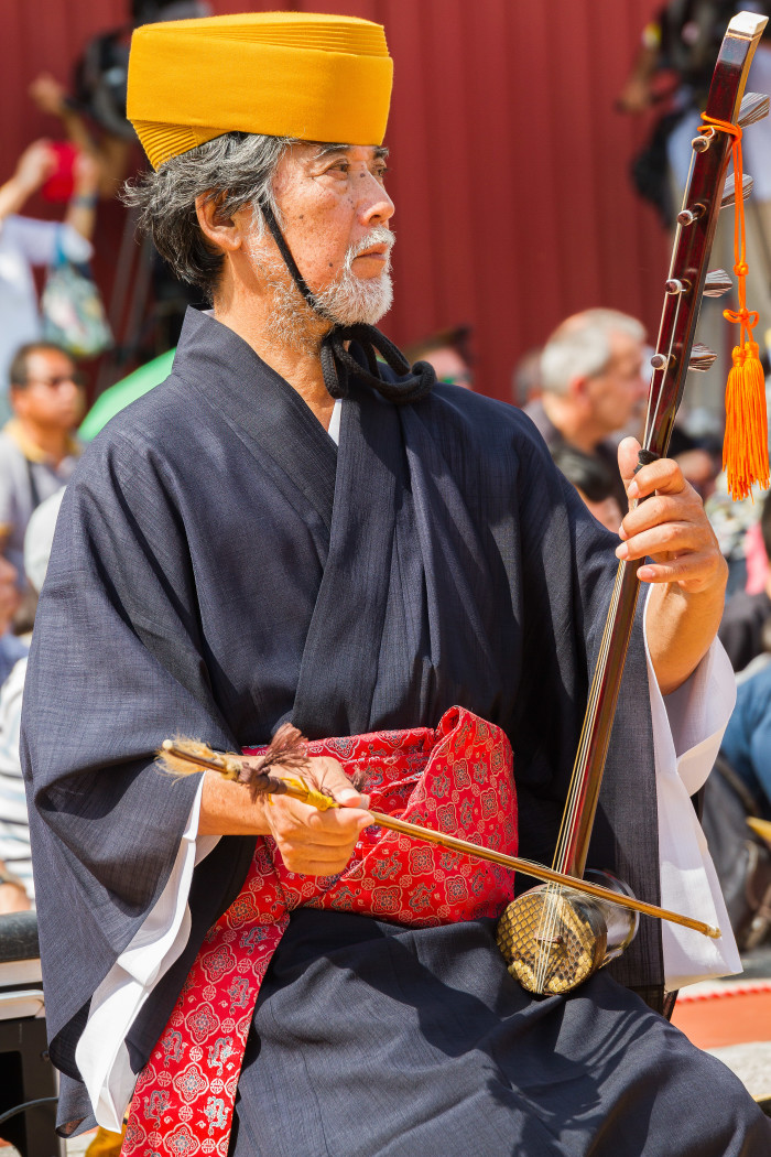 Okinawan Sanshin at Shuri Castle Festival in Naha Okinawa Japan
