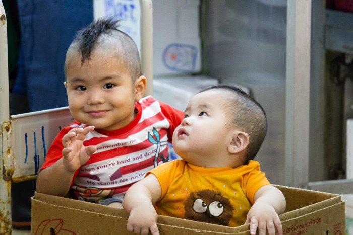 Okinawan children at Naha Makishi Public Market