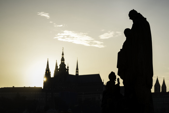 Prague Castle at Sunset from Charles Bridge Prague